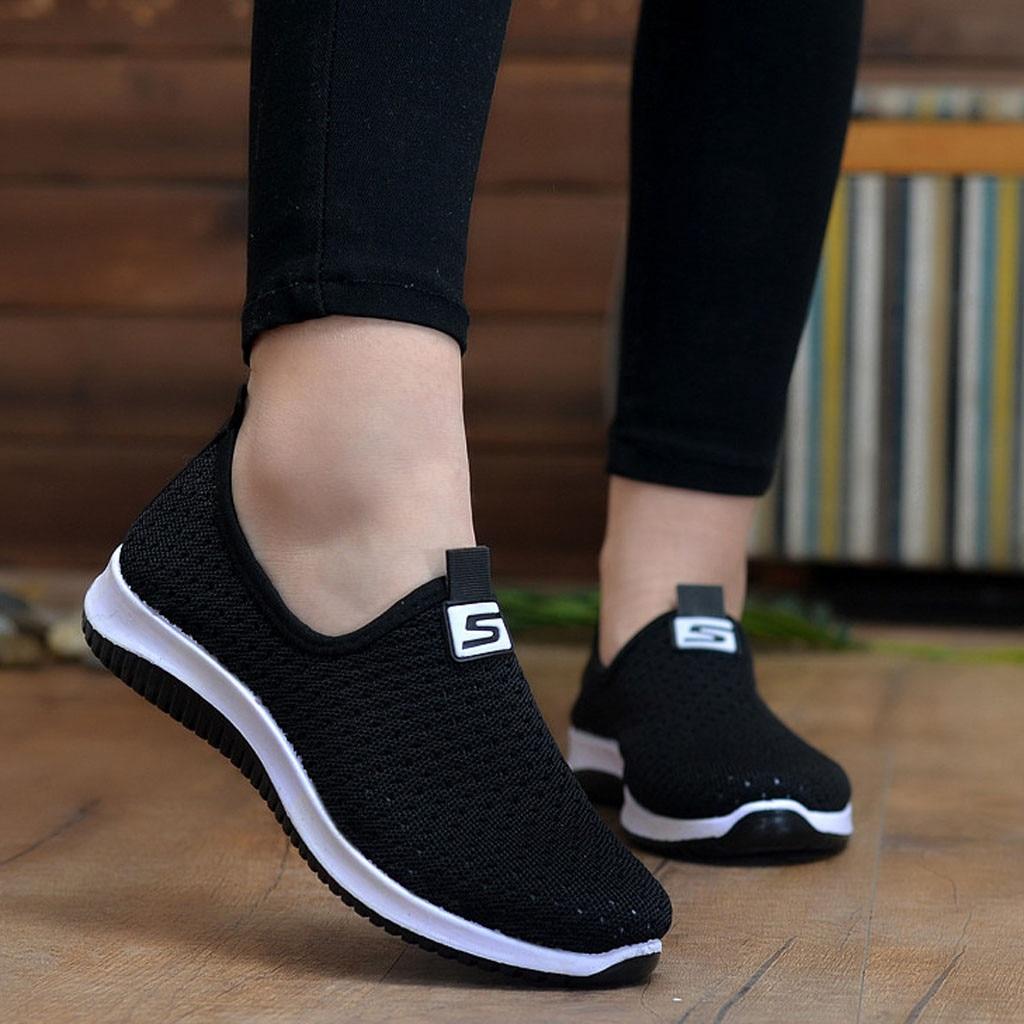soft Shoes Air mesh sneakers women spring summer slip on platform knitting flats