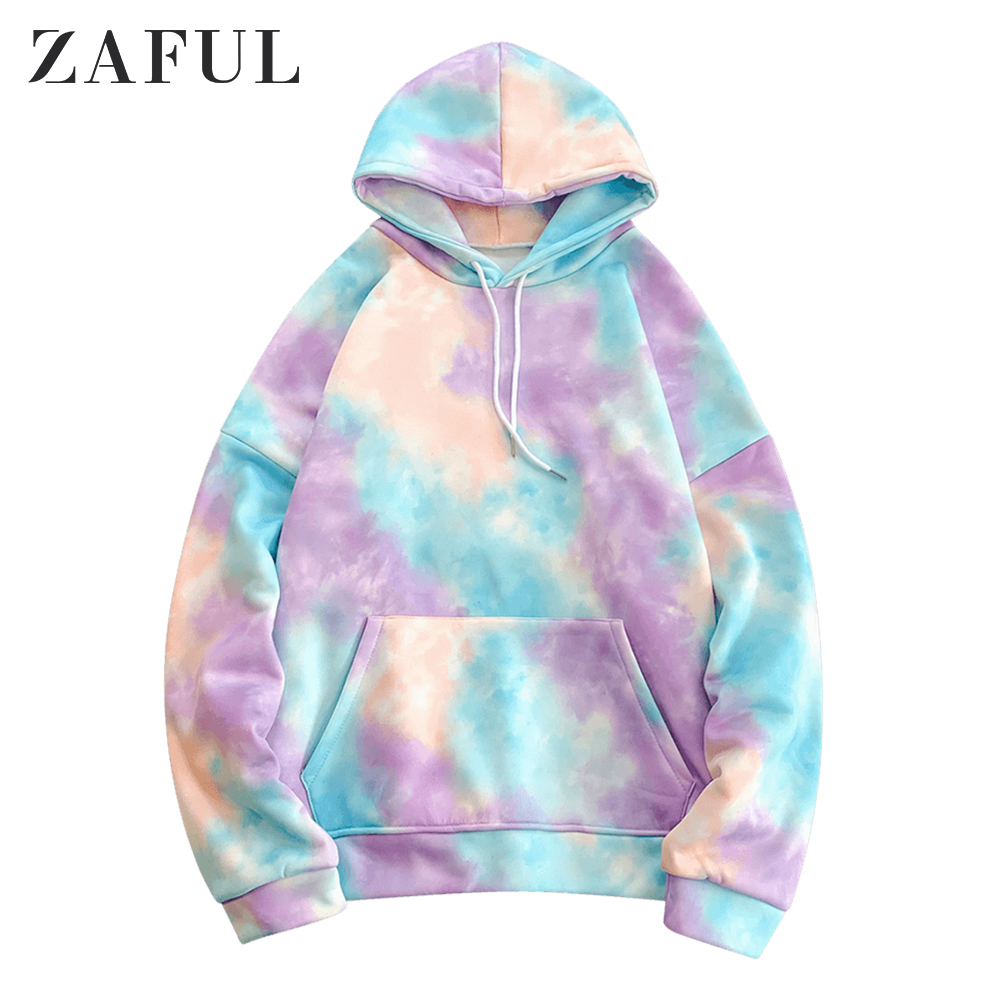 ZAFUL Hoodies Sweatshirts Men Kangaroo Pocket Tie Dye Pullover Hoodie 2019 Winter Korea Style Oversized Hoodies Streetwear