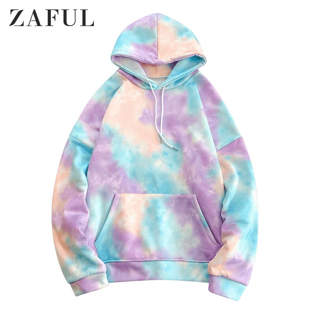 ZAFUL Hoodies Sweatshirts Men Kangaroo Pocket Tie Dye Pullover Hoodie 2019 Winter Korea Style Oversized Hoodies Streetwear