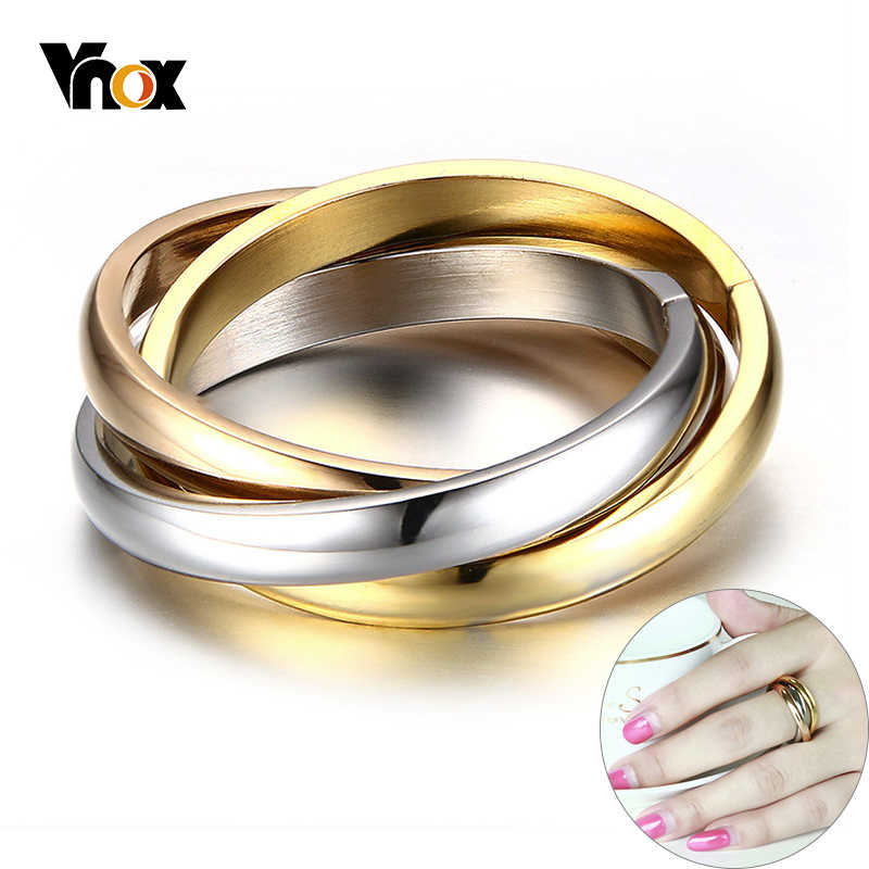Vnox Classic 3 Rounds Ring Sets Women Stainless Steel Wedding Engagement Female Finger Jewelry