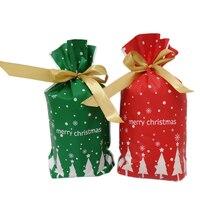 100 pçs sacos de presente de natal feliz papai noel natal árvore de embalagem sacos de biscoito sacos de doces festa ornamentos Sacolas plásticas e plástico filme Casa e Jardim -