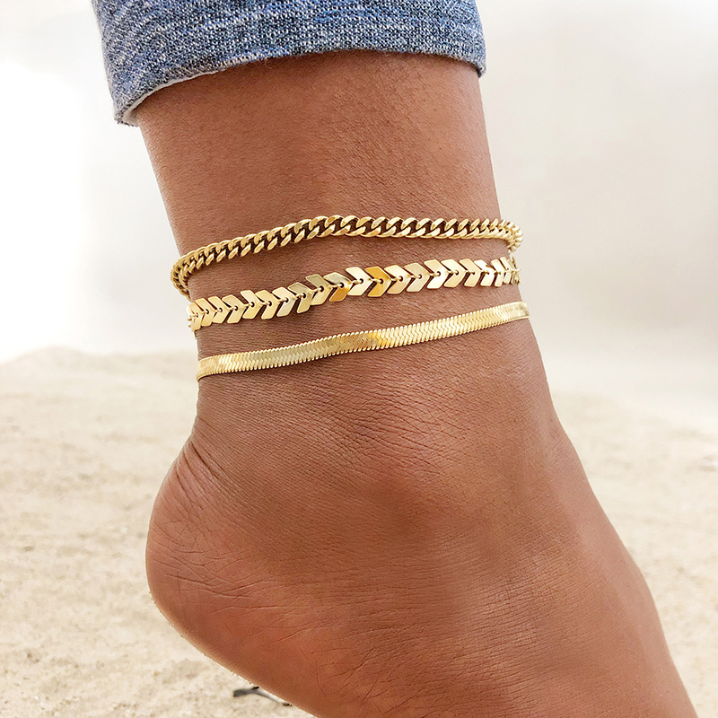 Stainless Steel Chain Anklet for Women Girls Multi-layer Beach Ankle Bracelet Foot Link Chains Adjsutable