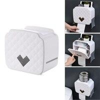 Suporte de papel higiênico à prova dportable água portátil montagem na parede bandeja de papel higiênico rolo tecido tubo casa banheiro caixa armazenamento organizador