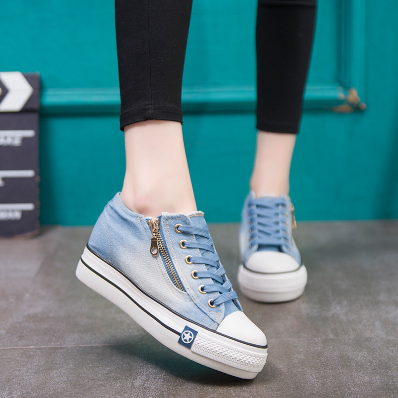 CINESSD Canvas Sneakers Women Fashion Denim Zipper Female Shoes Spring 2020 New Flat Casual Shoes Women Sneakers Platform Sewing