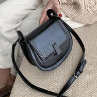 Mini PU Leather Saddle Bags For Women 2020 Crossbody Shoulder Messenger Bag Female Handbags Solid Color Cross Body Bag