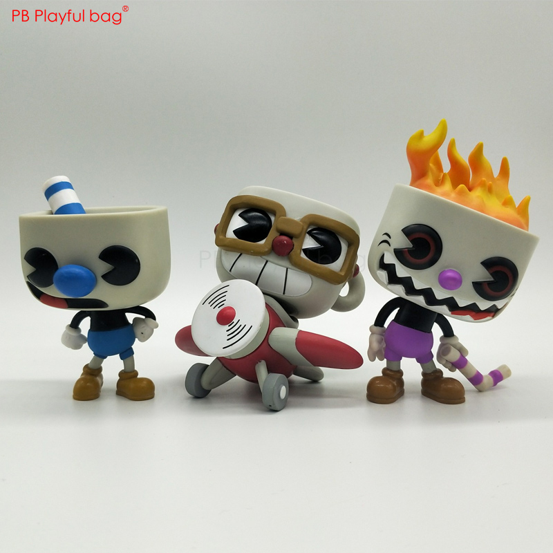 10CM Cuphead Figure PVC Collectible Cartoon Action Figure Children Doll Toys Car Decoration Cuphead Game Fans Favorite Gift HD55