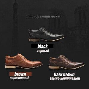 Image 5 - Мужская деловая обувь YIGER, черная деловая Свадебная обувь из натуральной кожи, на шнуровке, большие размеры, 0249