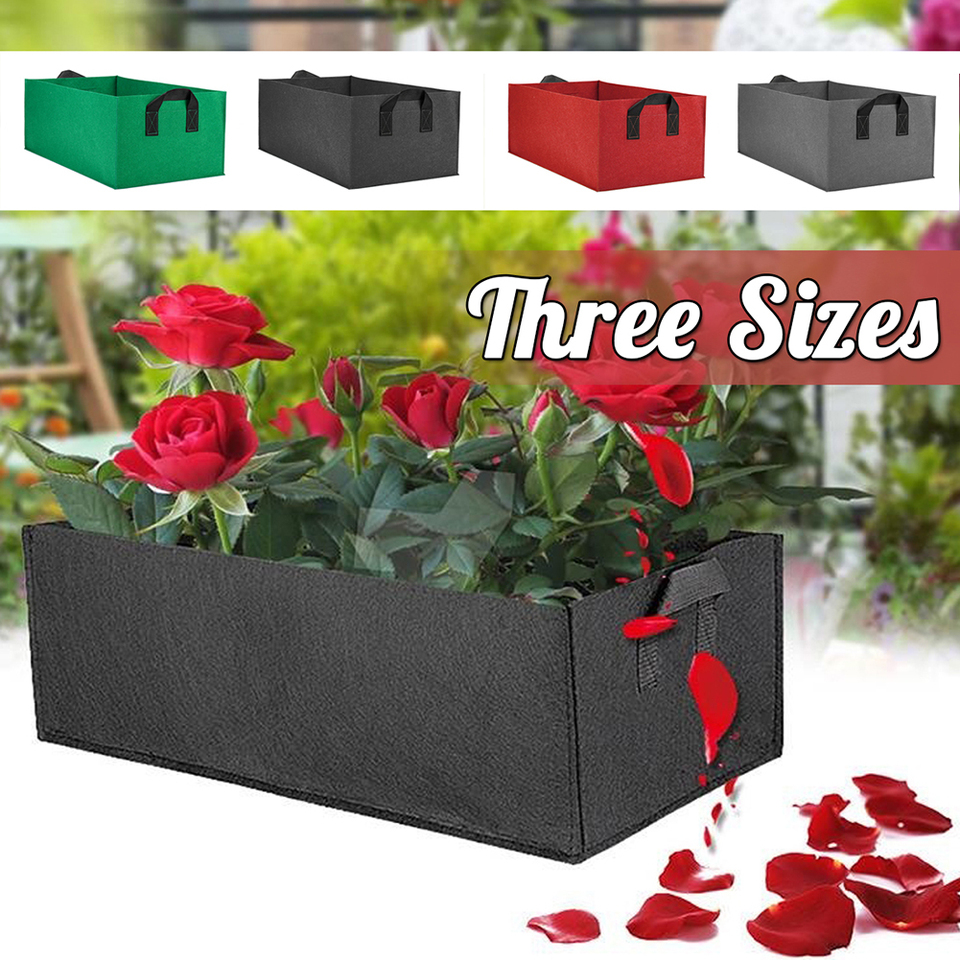 Fabric Raised Garden Bed Square Flower Grow Bag Vegetable Indoor Outdoor Planting Pots Plant Breeding Bag Black Red Green S M L Grow Bags Aliexpress