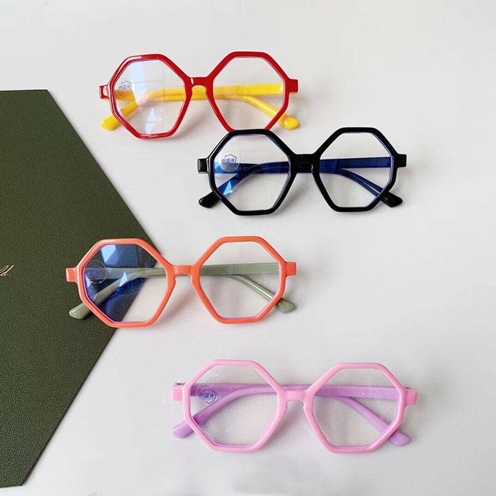 Children's Anti-blue Light Polygon Glasses Large Frame Computer Eyeglasses Myopia Glasses Frame Candy Color Silicone Flat Lens