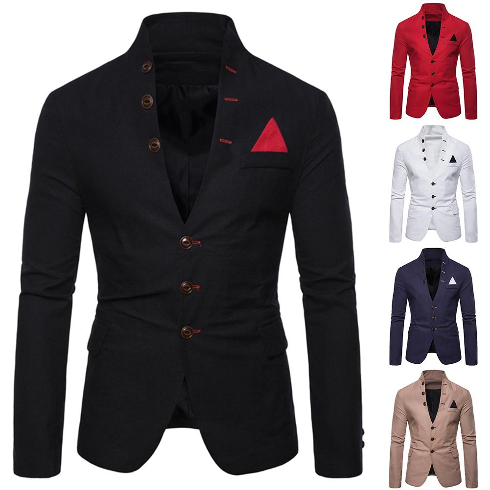 Men Slim Fits Social Blazer Spring Autumn Fashion Solid Wedding Dress Jacket Men Casual Business Male Suit Jacket Blazer Gentlem