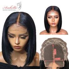 Closure Bob Wig 180% Density Brazilian Straight Remy Hair Natural Arabella Human For Black Woman Short Lace