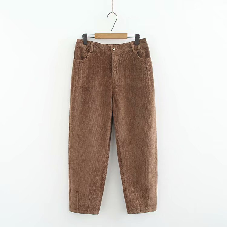 C1 Large Size Dress 2018 Autumn New Style Corduroy Hot Selling Korean-style Loose-Fit High-waisted Dad Pants Yf8068