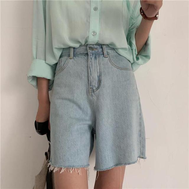 Genayooa Streetwear Biker Shorts Women Korean Style 2021 Summer Cotton Denim Shorts Jeans High Waist Cool Short Feminino Chic 5