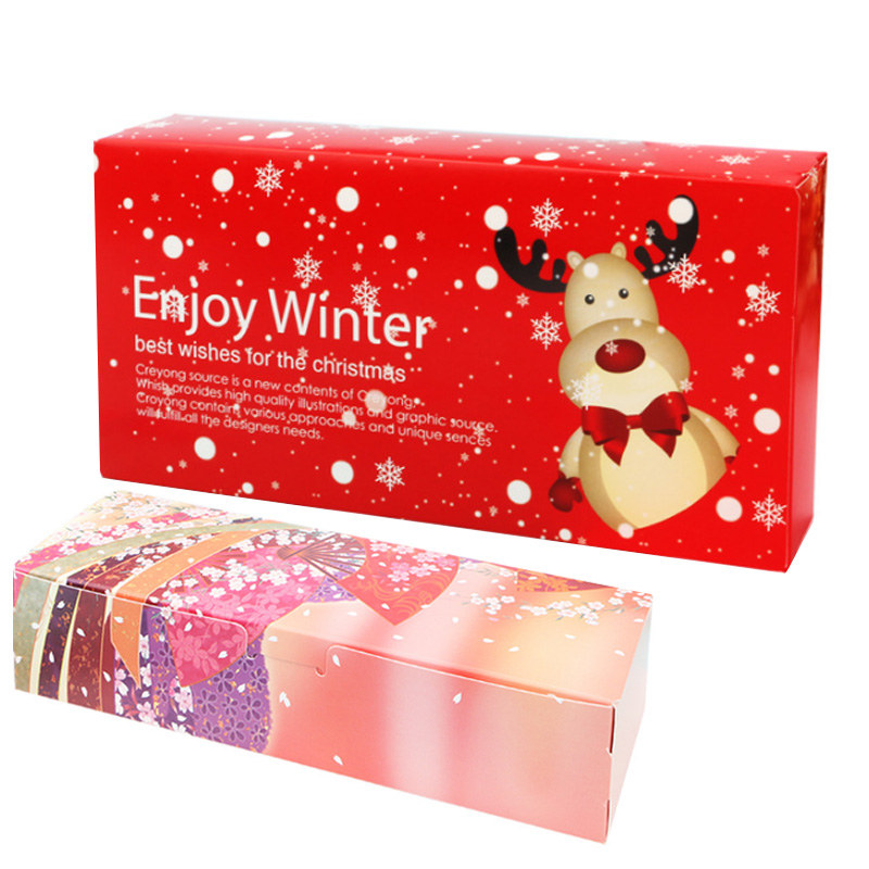 1Pcs 24cm*12cm Pink Red Cookie Package Merry Christmas Santa Decor Gift Box Party Wedding Gifts For Kids Cardboard Box Candy Bag