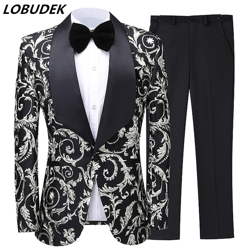 England Style Men's Wedding Suits 2-Pieces High-end Jacquard Blazer Tuxedo Prom Evening Singer Host Stage Costume Groom Suit