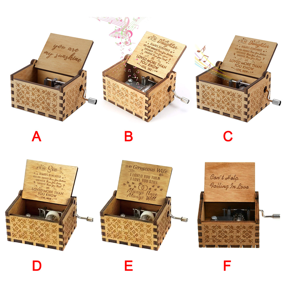 Vintage Music Box Engraved Wooden Hand Crank Music Box Mom Dad Love Birthday Gift M09