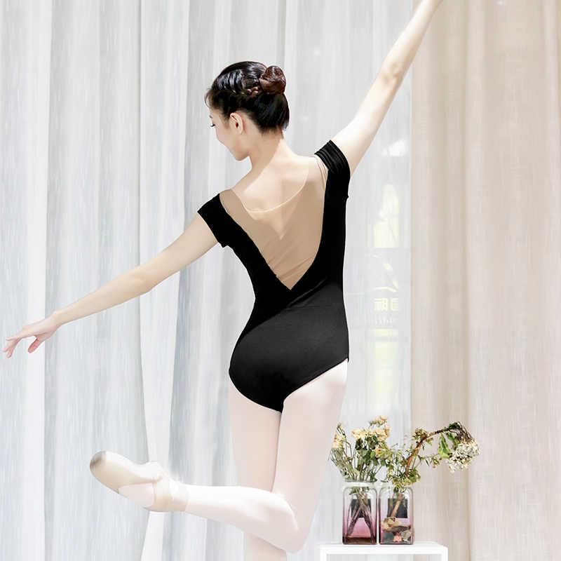 בלט בגדי גוף עבור בנות נשים סקסי מחשוף כותנה רך רשת שחור לבן התעמלות בלט בגד גוף תלבושות