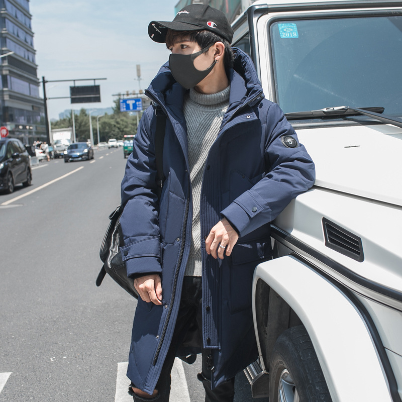 Fashion Men's Thickened Winter Coat Long White Duck Down Jacket Men Hooded Men's Down Jackets