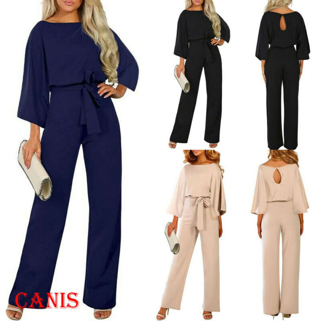 2019 New Women Female Fashion High Waist Long Sleeve Jumpsuit Autumn Cotton Long Sleeve Casual Loose Romper Trousers Ladies Pant 1