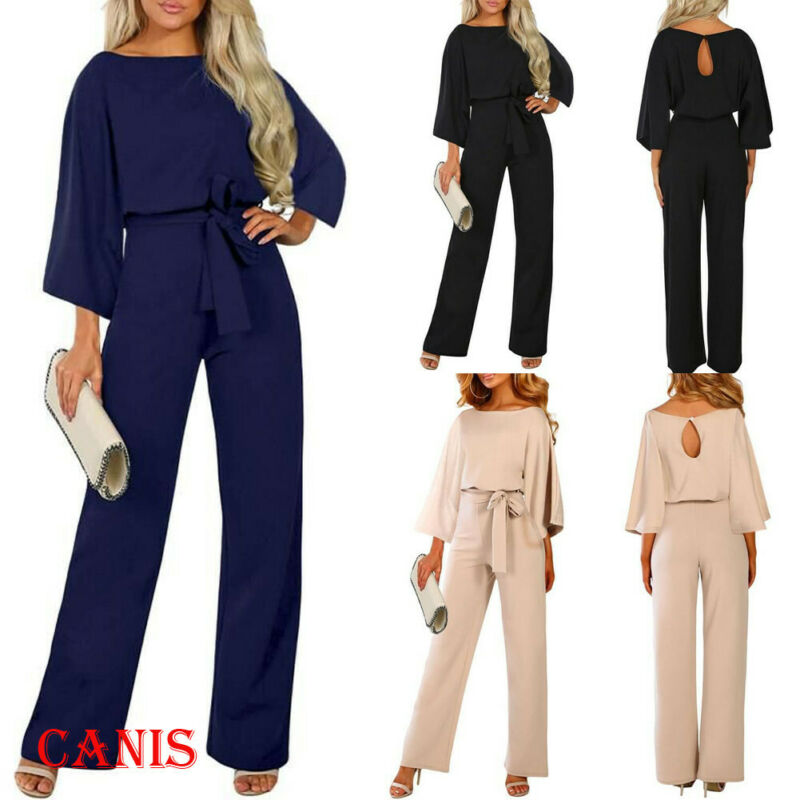 2019 New Women Female Fashion High Waist Long Sleeve Jumpsuit Autumn Cotton Long Sleeve Casual Loose Romper Trousers Ladies Pant