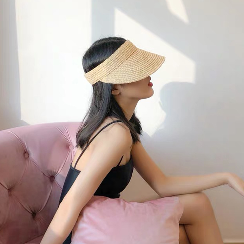 New Foldable Vacation Visor Caps For Women Raffia Empty Top Sun Hat Summer UV Beach Hats Velcro Adjustable Head Circumference