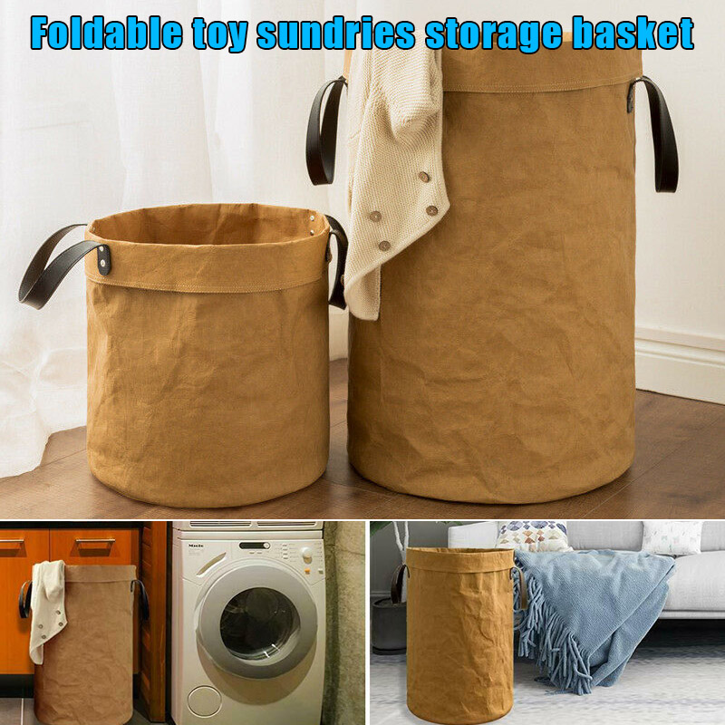 Collapsible Laundry Basket Tall Round Hamper Storage Bag with Handle for Toy Clothes YU Home Laundry Baskets     - title=