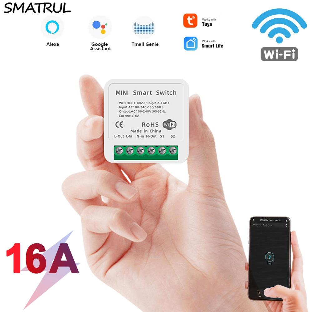 Smatrul 16a 10a mini tuya wifi interruptor led luz vida inteligente módulo push suporta 2 vias app relé de voz temporizador google casa alexa