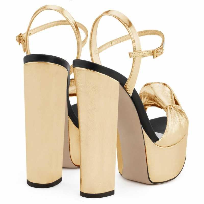 Patent deri Platform kadınlar düğümlü yüksek topuklu sandalet altın gümüş akşam yemeği yüksek topuklu elbise parti bayan tıknaz topuk yaz ayakkabı
