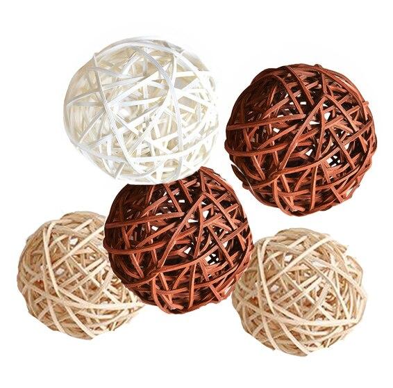 Ротанговые плетеные тростниковые шары диаметром 5 см для сада патио, свадебные, вечерние украшения, DIY для тайского стиля гирлянды - Цвет корпуса: beige-brown-white