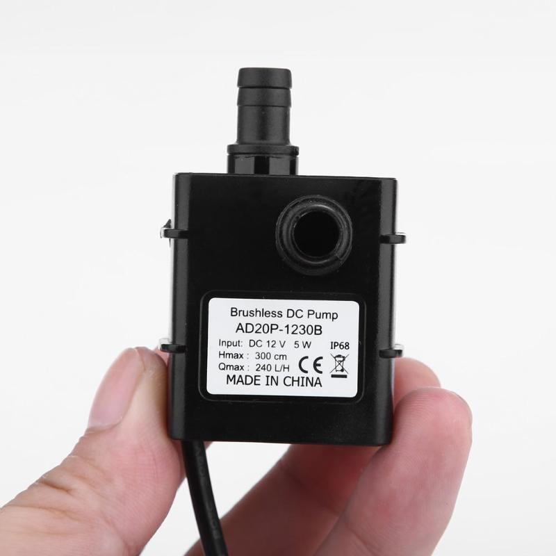 Waterproof Mini Water Pump Power Micro Brushless DC Water Pump Submersible Fountain Aquarium Circulating 12 V 5 W 240l / H
