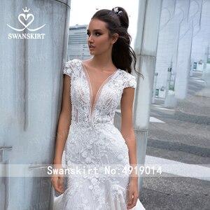 Image 3 - Swanskirt Fairy 3Dดอกไม้Mermaidงานแต่งงาน2020 VคอAppliques Backless Illusionเจ้าหญิงเจ้าสาวVestido De Novia F265