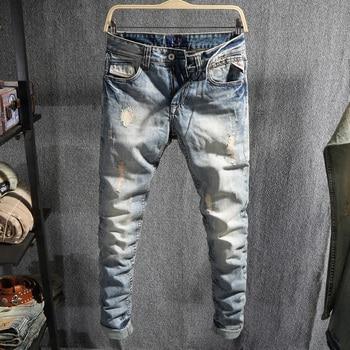Fashion Streetwear Men Jeans Light Blue Embroidery Designer Ripped Jeans Men Cotton Denim Pants Vintage Hip Hop Jeans Homme fashion designer men jeans blue 100