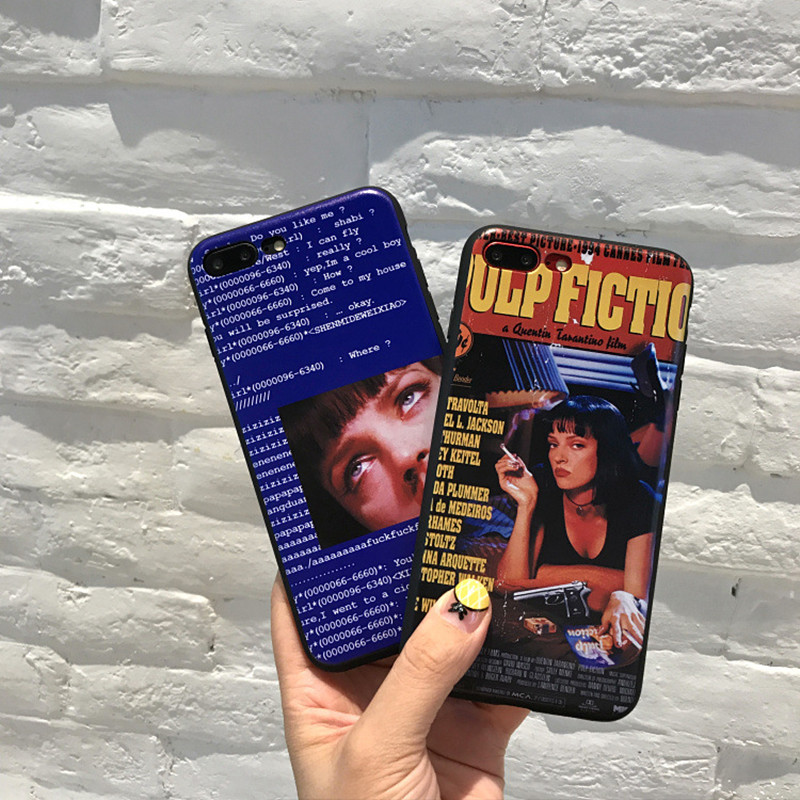 Retro vintage poster Pulp Fiction movies tv <font><b>sexy</b></font> Bad <font><b>girl</b></font> lips Phone <font><b>case</b></font> silicone cover for <font><b>iPhone</b></font> <font><b>7</b></font> 8 6s Plus X XS matte <font><b>case</b></font> image