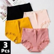 3 pçs/lote cuecas femininas de algodão macio calcinha meninas cintura alta cuecas listrado calcinha sexy feminino tamanho grande M-XXL
