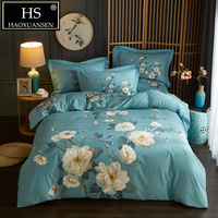 Blooming Flowers Sanding Cotton Bedding set Vintage Teal 4 Pieces Soft Warm Duvet Cover Peony Motif for Winter Queen King Size