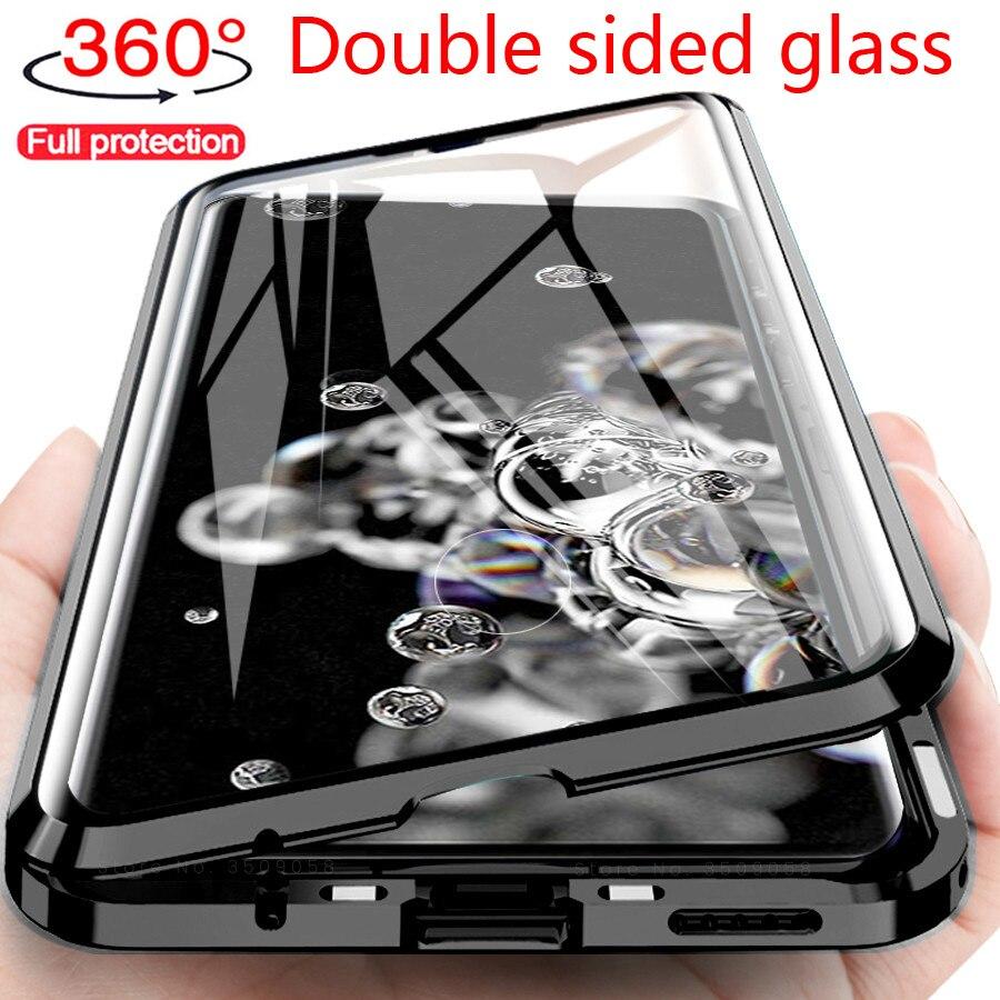 Металлический магнитный двухсторонний стеклянный чехол для Samsung Galaxy A51 A21s A50 A20s A70 A71 M51 A91 A20 A30 S10E M21 M31 S8 S9 S10 S20