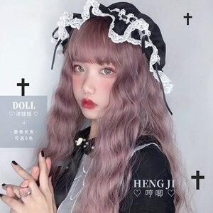 Image 5 - Uwowo Lange Golvend Haar Lolita Pruiken Hittebestendige Synthetische Haar Anime Party Pruiken 6 Kleur Kleurrijke Pruik