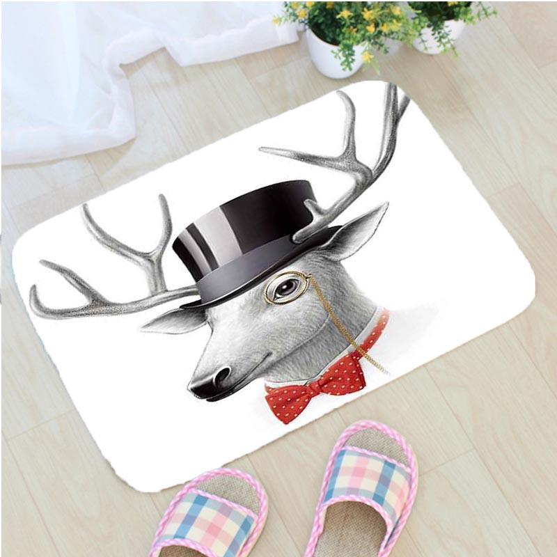Cartoon Animal Printing Bath <font><b>Mat</b></font> Flannel Creative Pig <font><b>Deer</b></font> <font><b>Bathroom</b></font> Non-slip <font><b>Mat</b></font> Simple Home Decor Door <font><b>Mat</b></font> Badmat tapis de bain image