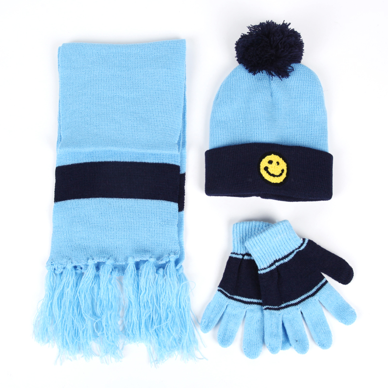 3 Pieces Hat Scarf Gloves Set For Kids Knitted Warm Hat Scarves Set Gloves For Boys Girls Cute Warm New