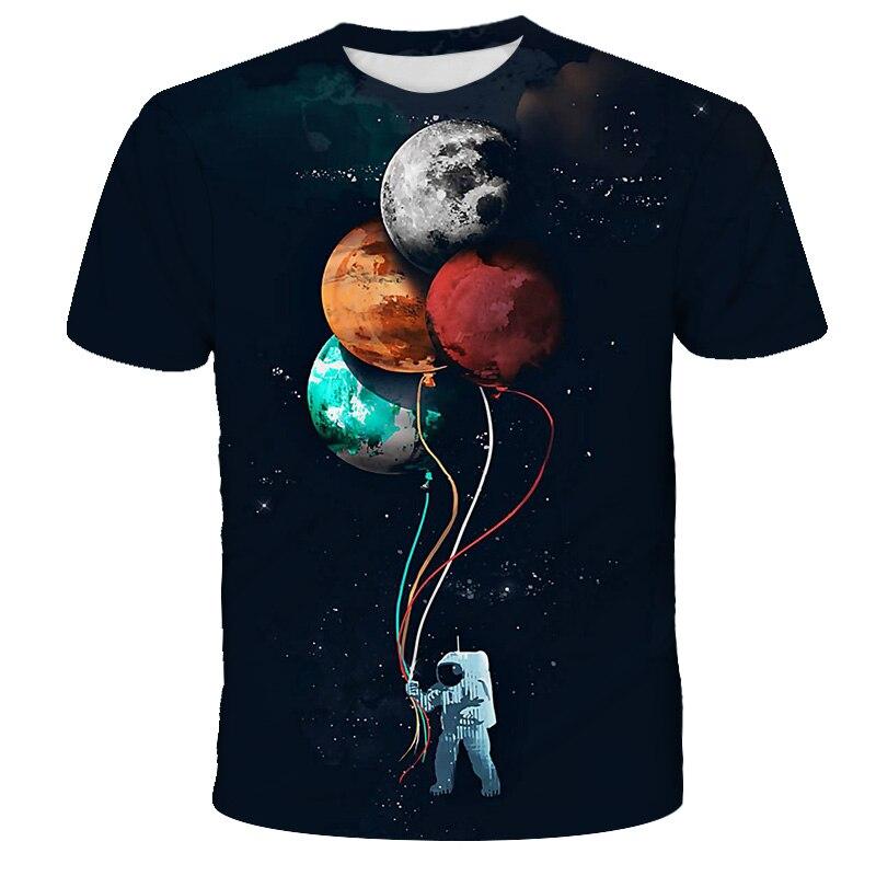 Camiseta de moda para niños y niñas, Camiseta con estampado 3D de galaxia del astronauta espacial para niños de 4 до 14 лет назад, ver