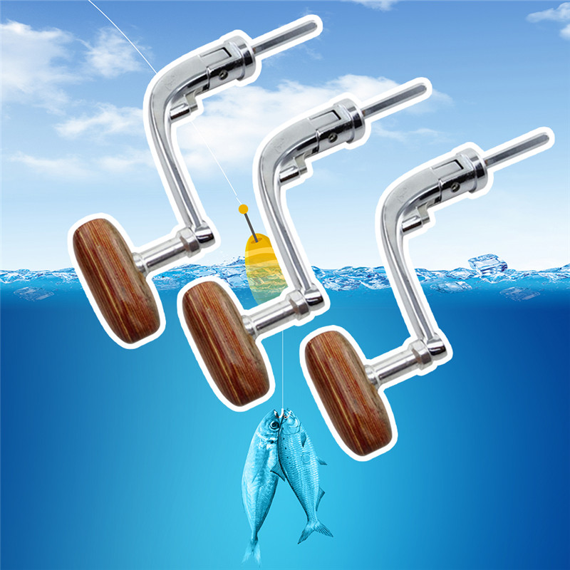 Universal Wood Handle Fishing Reels Crank Rock Arm Spinning Wheel Grasp Spinning Wheel Handle  Metal Folding Rocking Arm