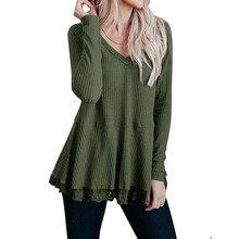 2019 Women Fashion  Loose Casual  Long Sleeve Knot Waffle Knit Tunic Lace Blouse Cute Shirts Tops  8.1 цена 2017