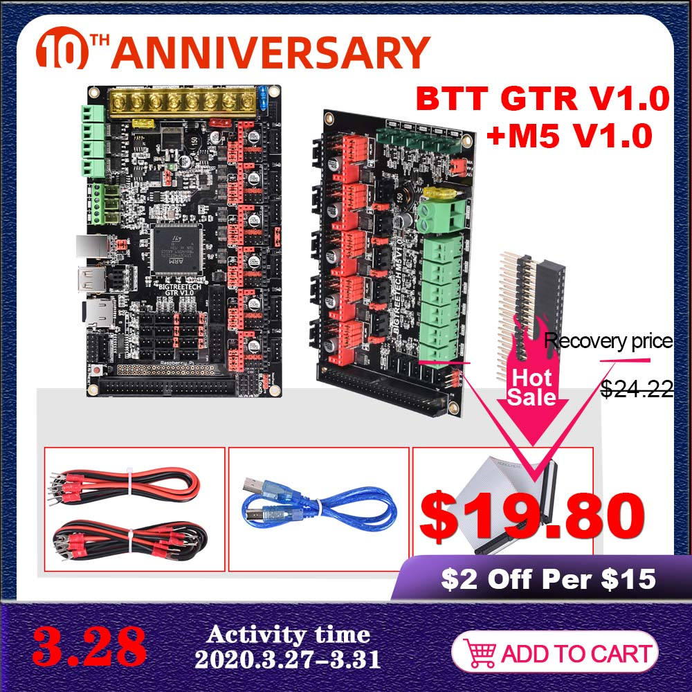 BIGTREETECH GTR V1.0 32 Bit Motherboard Dual Z With M5 Expansion Board Support TMC2209 TMC5160 11Motor Drive For 3D Printer