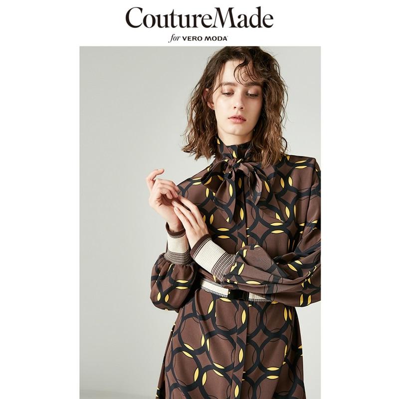 Vero Moda 2019 New Arrivals 100% Mulberry Silk Printed Shirt Dress | 31847D517