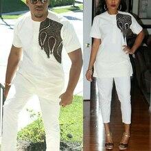 H & D الأزواج الأفريقية الملابس Dashiki قميص السراويل النساء 2 قطع دعوى الرجال Agbada تي شيرت التقليدية التطريز رداء الأفريقية