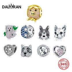 DALARAN 925 Sterling Silver Charm Bead Amor Animais de Estimação Do Gato Do Cão Da Cópia Da Pata Koala Encantos Pingente Fit Pulseiras Mulheres Jóias DIY