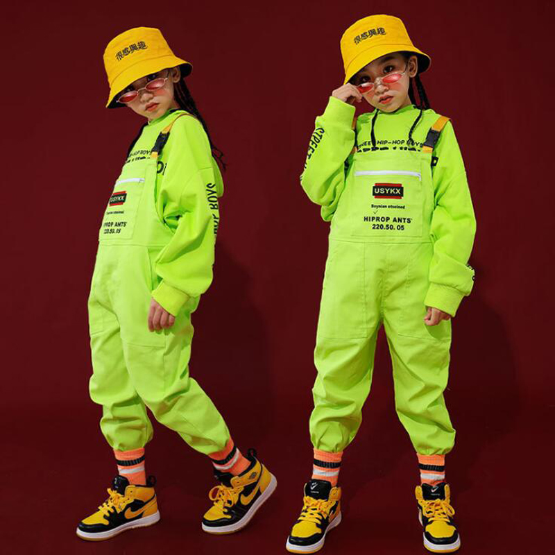 Kid Hip Hop Clothing Green Casual Hoodie Tops Loose Bib Pants For Girls Boys Jazz Dance Costumes Ballroom Dancing Clothes Wear