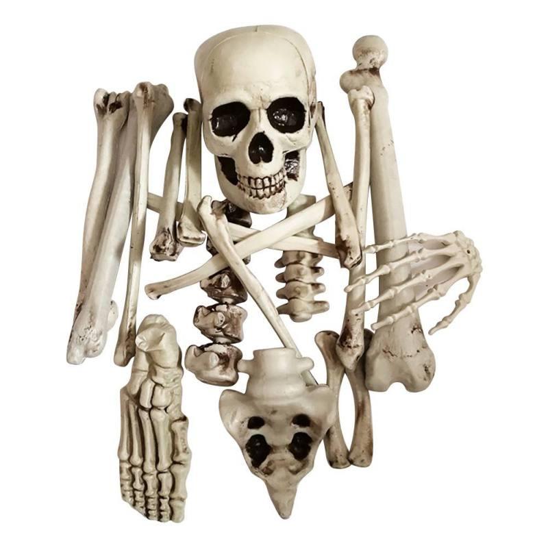 19 pièces Halloween pour fête salle hantée évasion squelettes artificiels maison hantée accessoires os cassé crâne insulte horreur