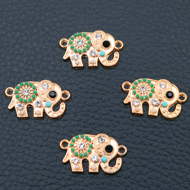 Vintage Indian Elephant Metal Pendant, Rhinestone Charms, Ganesha Ethnic Style Animal 8pcs