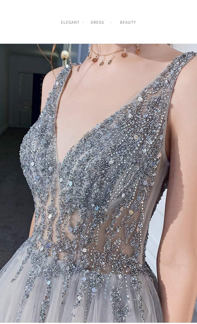 Neue Sexy Silber Grau Abendkleid Lange Abschnitt V ausschnitt Perspektive Netto Garn Stoff Handgemachte Perlen Prom Mode Königin Party Kleid - 5